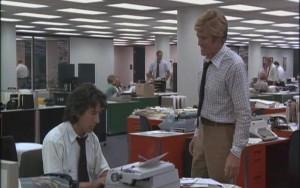 Carl Bernstein (Hoffman) e Bob Woodward (Redford)